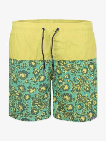 Винтажные пляжные шорты «Зеленая хохлома»