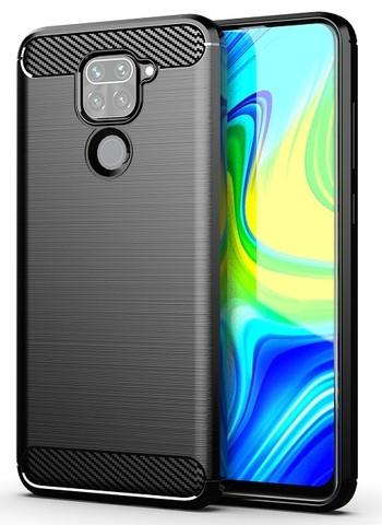 Мягкий защитный чехол черного цвета на Xiaomi Redmi Note 9, серия Carbon от Caseport