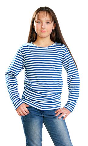 Тельняшка детская на байке голубая полоса