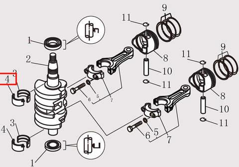 Вкладыш шатуна для лодочного мотора F9.8 Sea-PRO (10-4)