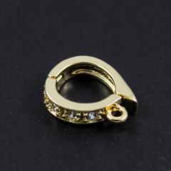 Бейл держатель для кулонов с  цирконами 13,5 x 8 мм цвет золото
