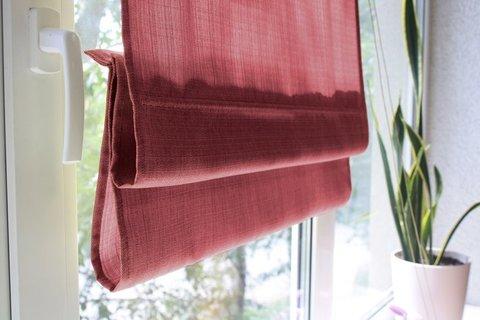 Римская штора под лен Тонни красный
