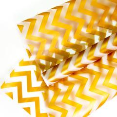 Упаковочная пленка матовая (0,6*10,3 м) Зигзаг, Золото, 1 рулон.
