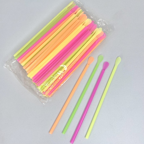 Трубочки-лопатки d=5,8 мм, h=21 см (100 шт.) цветные