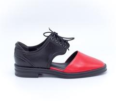 Комбинированные кожаные полуботинки на шнуровке