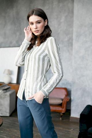 Фото приталенная блузка в полоску и с длинными рукавами - Блуза Г725-037 (1)