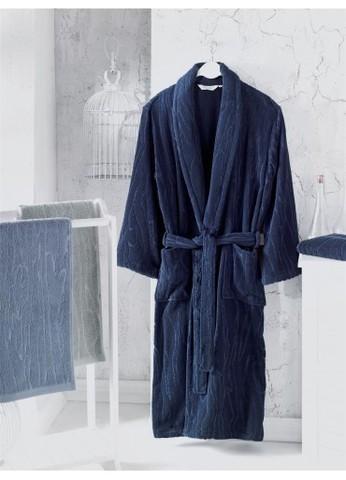 Мужской махровый банный халат SORTIE тёмно-синий