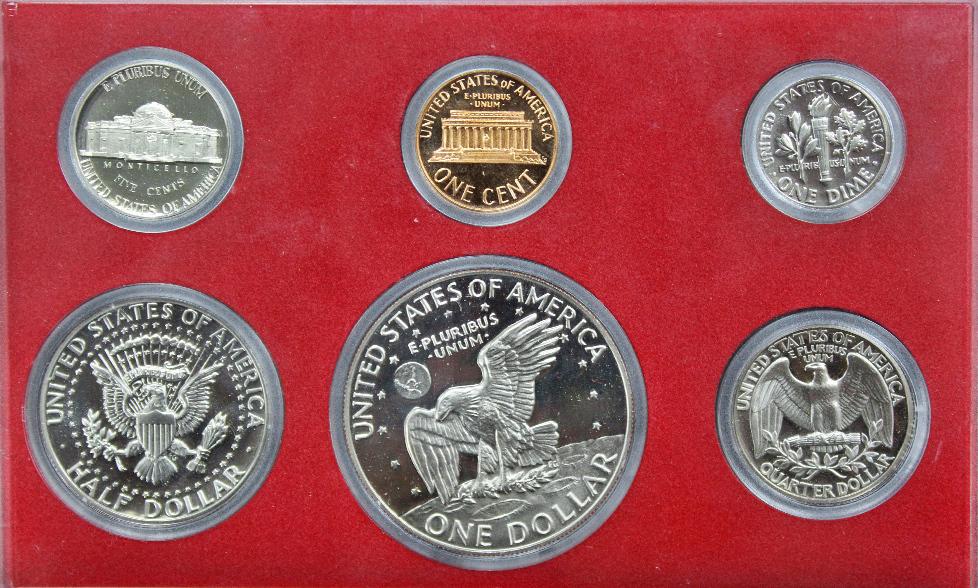 Годовой набор монет США 1977 год в футляре (1, 5, 10, 25, 50 центов; 1 доллар) (6 монет)