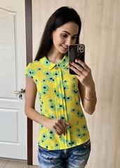 Кім. Яскрава літня блуза. Жовтий ромашки