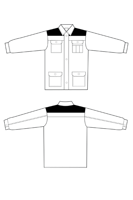 Выкройка рабочего костюма куртка технический рисунок