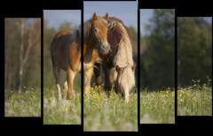 """Модульная картина """"Игривые лошади"""""""