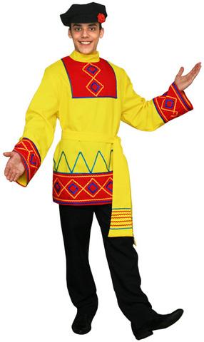 Русская рубаха с поясом жёлтая