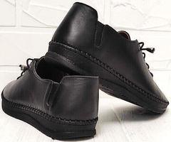 Кэжуал черные кроссовки мокасины женские кожаные EVA collection 151 Black.