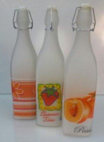 Бутылка стелянная для жидких продуктов с бугельной пробкой молочного цвета V 1000 мл