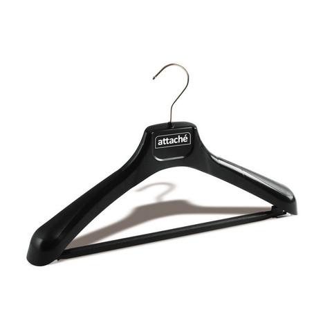 Вешалка-плечики пластмассовая Attache со съемной перекладиной черная (размер 46-48)