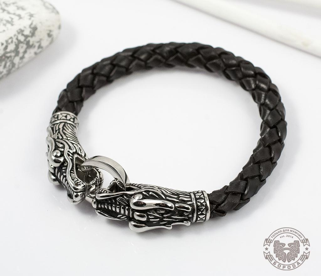 BL354 Крупный мужской браслет с драконами из кожи и стали (19 см) фото 02