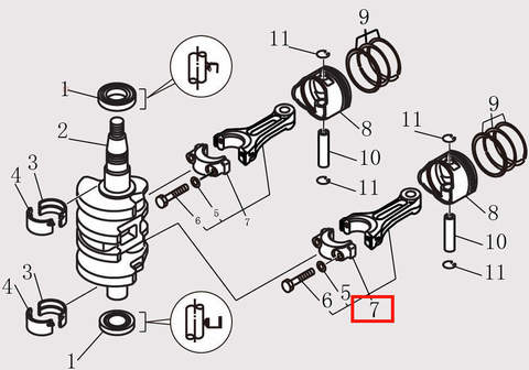 Шатун в сборе для лодочного мотора F9.8 Sea-PRO (10-7)