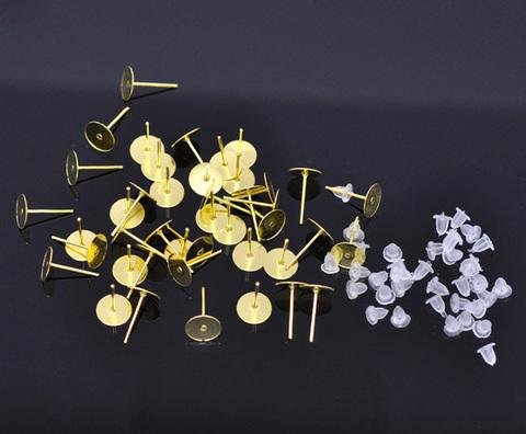 Пуссеты - гвоздики с круглой площадкой 8 мм (цвет - золото) 5 пар (с заглушками) ()