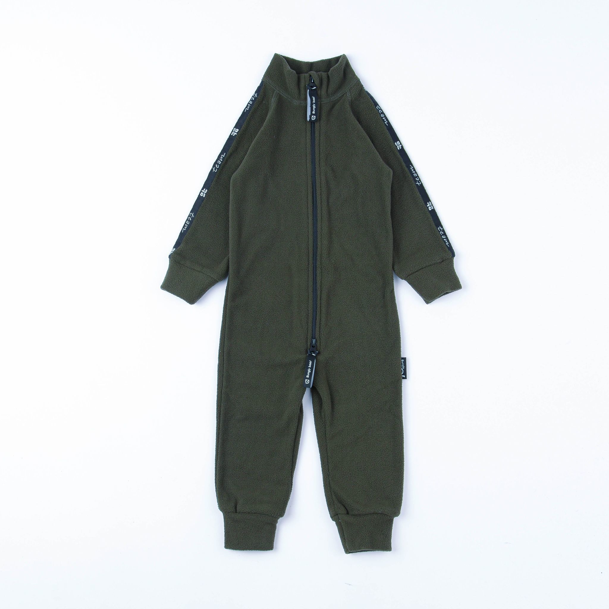 Thermal fleece jumpsuit with stripes - Khaki
