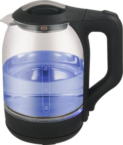 Чайник электрический Qually KL-1880,1500Вт 1,8л,стекло,черный