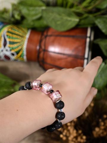 Браслет Murano Flex Cubo черно-светло-розовый