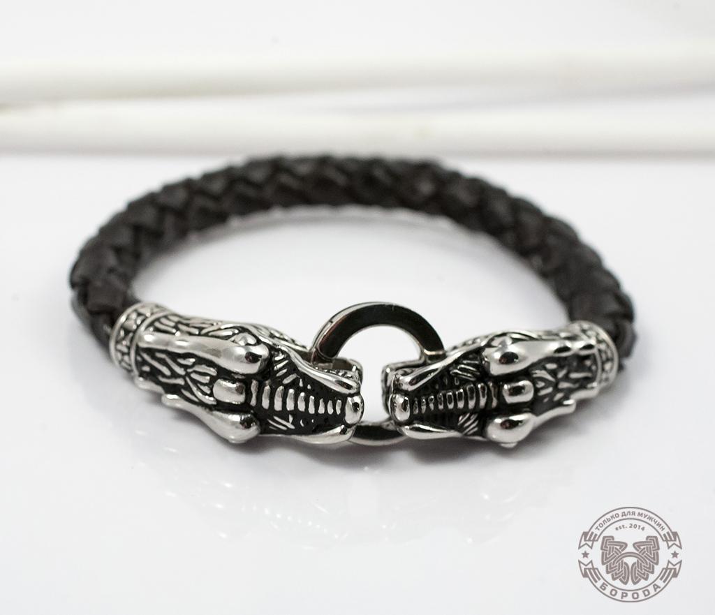 BL354 Крупный мужской браслет с драконами из кожи и стали (19 см) фото 03