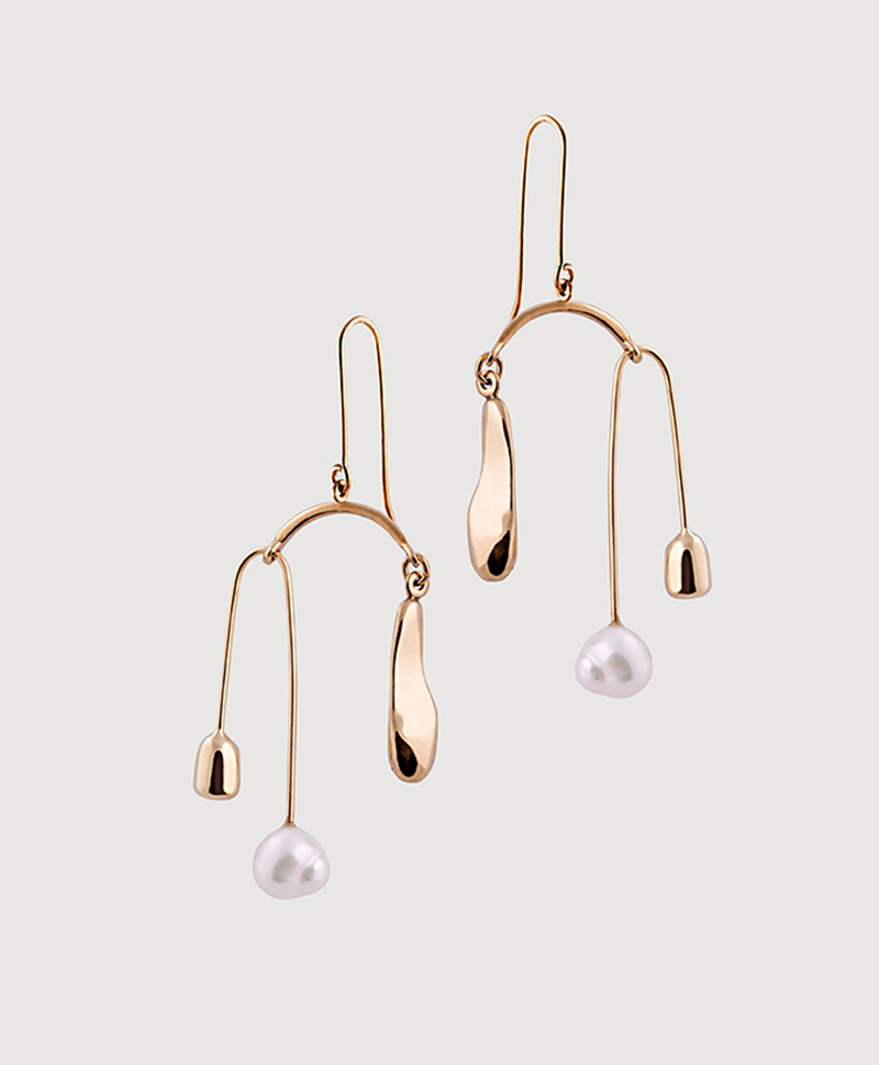 Серебряные тройные серьги с жемчугом и золотым покрытием