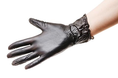Перчатки виниловые чёрные 50 штук, размер M