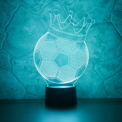 3D ночник Футбольный мяч с короной
