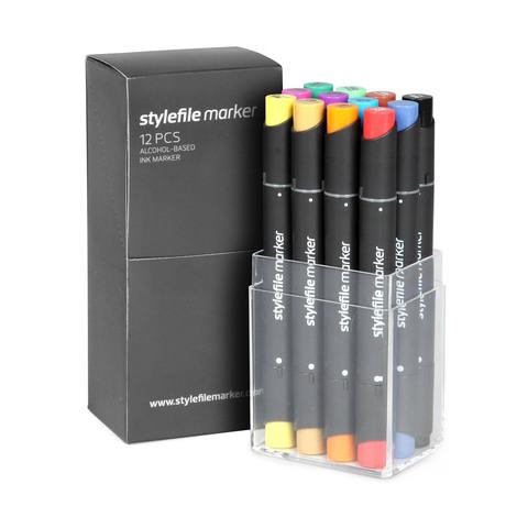 Набор маркеров Stylefile Classic 12 штук (основные цвета A) в пластиковой упаковке