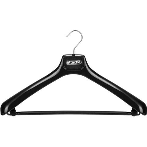 Вешалка-плечики пластмассовая Attache со съемной перекладиной черная (размер 50-52)