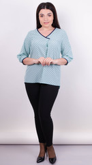 Леона принт. Стильна блуза великих розмірів. М'ята.