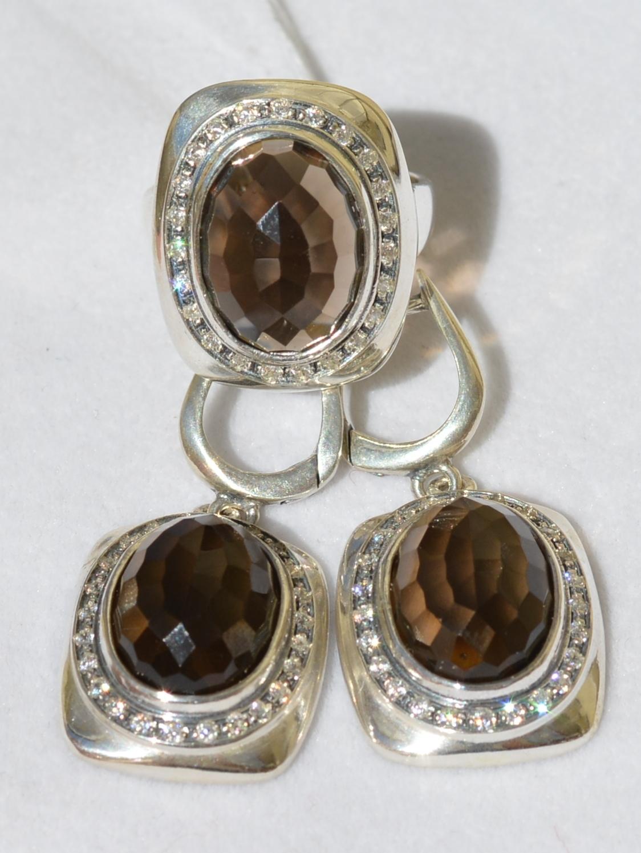 Живанши(кольцо + серьги из серебра)