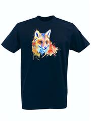 Футболка с принтом Лиса (Лисенок, fox) темно-синяя 008