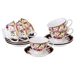 Чайный набор из фарфора на 6 персон  Шиповник