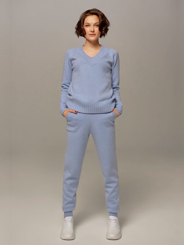 Женский джемпер голубого цвета из шерсти и кашемира - фото 3