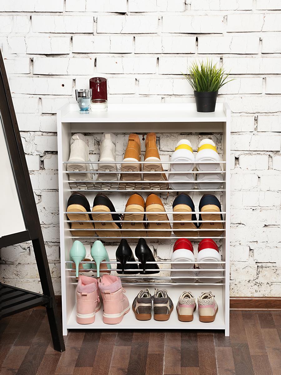 Полка для обуви 66 х 90 х 27см, 4-х этажная, белый