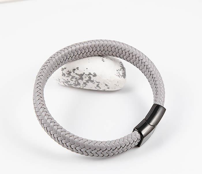 BM531-4 Серый мужской браслет из плетеной кожи фото 05