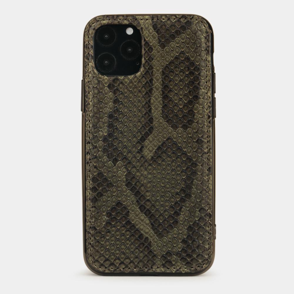 Чехол-накладка для iPhone 11 Pro из натуральной кожи питона, зеленого цвета