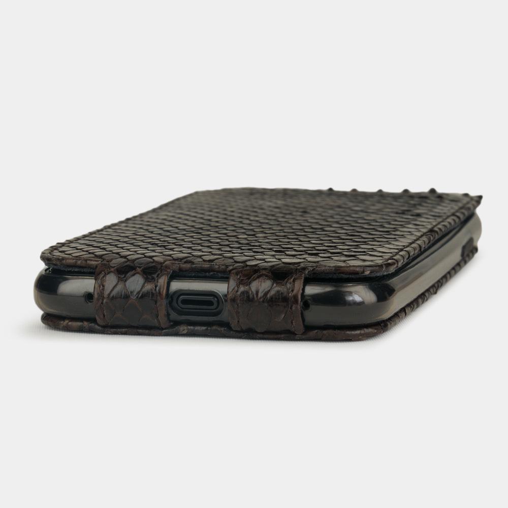 Чехол для iPhone 11 из натуральной кожи питона, темно-коричневого цвета