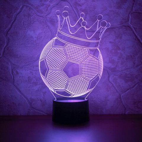 3D светильник Футбольный мяч с короной