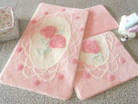 Коврик для ванной DO&CO (60Х100 см/50x60 см) DANTEL цвет розовый