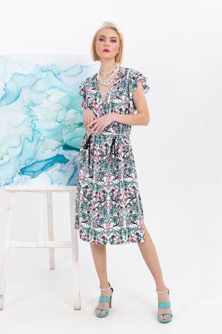 Фото платье с растительным принтом с v-образной горловиной и рукавом крылышко - Платье З368-583 (1)