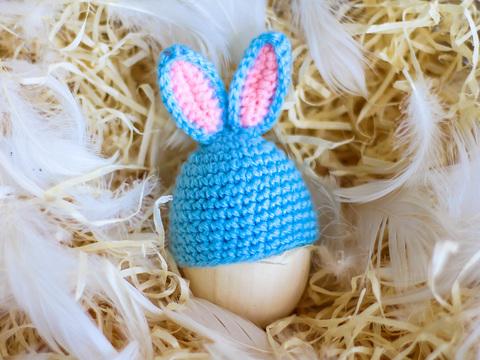 Великодній декор. Шапочка на крашанки - Кролик бірюзовий з рожевими вставками.