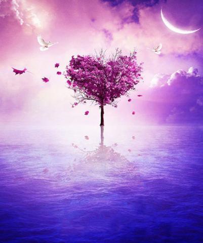 Алмазная Мозаика 30x40 Розовое дерево в форме сердца