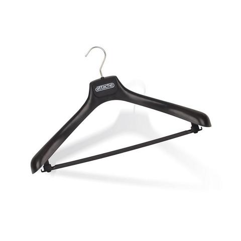 Вешалка-плечики пластмассовая Attache с перекладиной черная (размер 52-54)