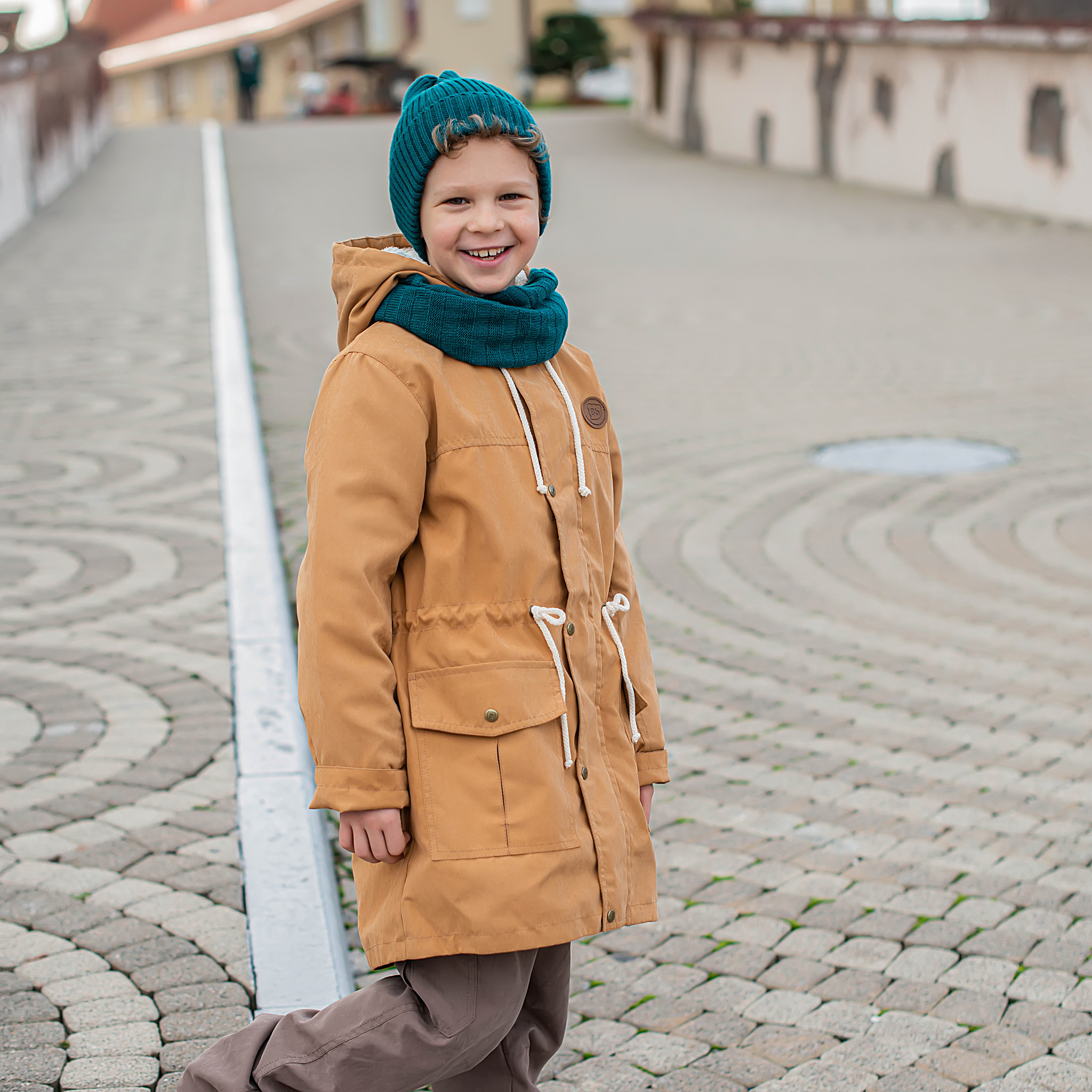 Demi-season parka with fur for teens - Camel