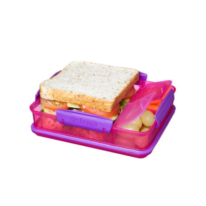 "Ланч-бокс Sistema ""Lunch"" с разделителями, 975 мл, цвет Розовый"