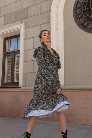 Платье рубашка на пуговках с воланами и отделкой из кружева