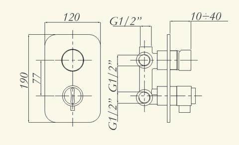 Смеситель  встроенный для душа   Migliore Fortis ML.FRT-5253.CR с 3-х. позиционным переключателем, термостат